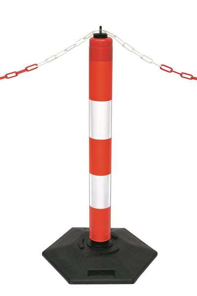 Kettenpfosten -Extern- aus Polyethylen, Höhe 1000 mm, Ø 100 mm, ca. 11 kg, rot/weiß