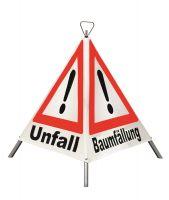 Faltsignal -Spring-, selbst aufspannend, VZ 101 Gefahrenstelle, fluoreszierend o. retroreflektierend