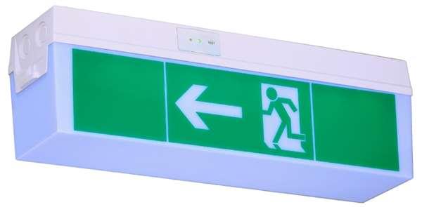 Rettungszeichenleuchte -C-Fux-, Erkennungsweite 14 m, zur Wand- oder Deckenmontage, 3-8 Stunden