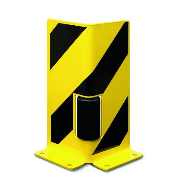 Anfahrschutz aus Stahl, mit Leitrollen, gelb/schwarz, Höhe 400 mm