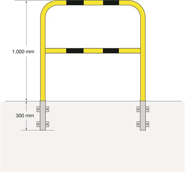 Schutzbügel -Mountain- Ø 48 mm, Überflur 1000 mm, zur seitlichen Wandmontage