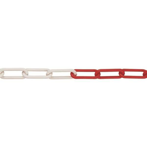 Sperrkette aus Polyethylen, Bundlänge 10 m, Ø 6 mm, rot-weiß