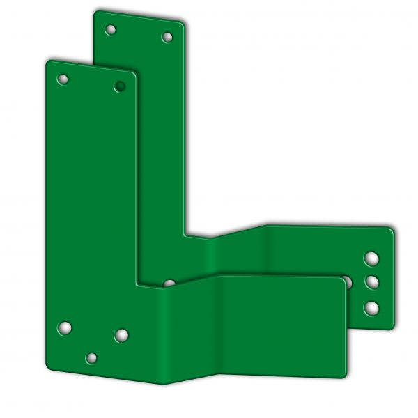 Montageplatten f. Einhand-Türwächter, f. Stangengriffe, gekröpft, 30/50 mm, Türen li/re, grün/langn.