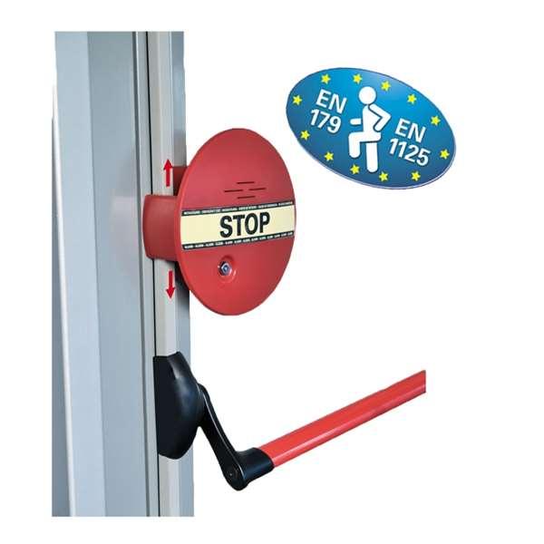 Fluchttürsicherung -DEXCON-, elektrischer Alarm für auftragende Schubstangen, DIN EN 179/1125