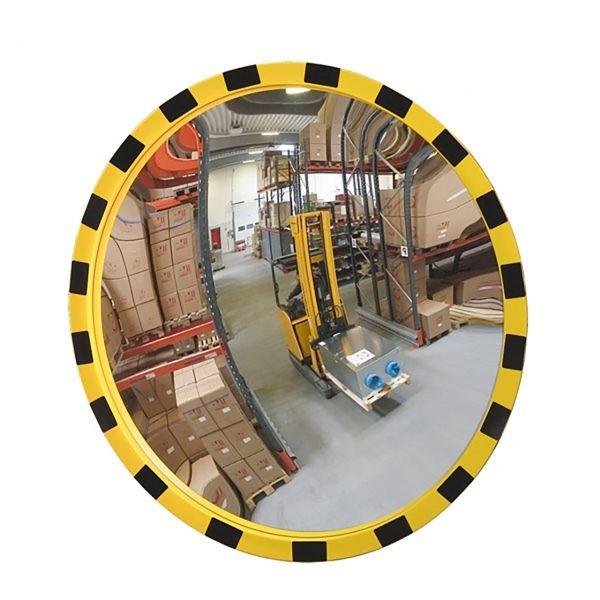 Industriespiegel -EUCRYL®- aus Acrylglas, gelb/schwarz, rund